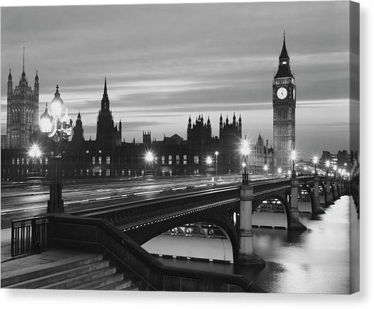 Parliament By Night Canvas Print by Peter King