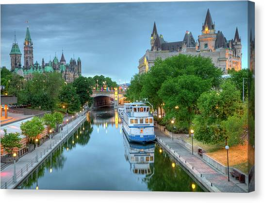 Parliament Hill Canvas Print - Parliament Hill  On The Rideau Canal by Denistangneyjr
