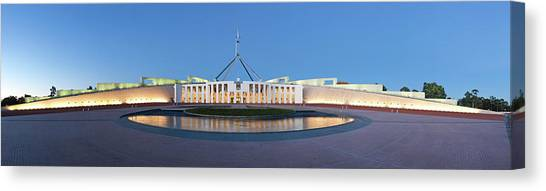 Canberra Canvas Print - Parliament House, Illuminated At by Andrew Watson