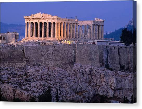 Parthenon And Acropolis From Filopappou Canvas Print