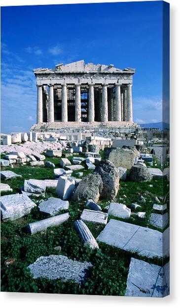 Parthenon At Acropolis Sacred Rock, Low Canvas Print