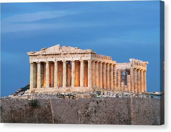 Parthenon On Acropolis At Dusk Canvas Print