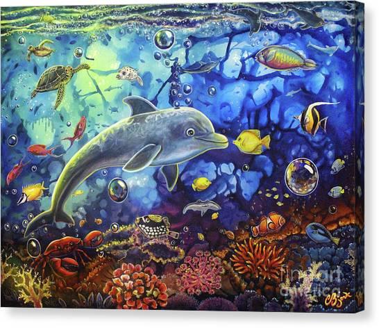 Past Memories New Beginnings Dolphin Reef Canvas Print