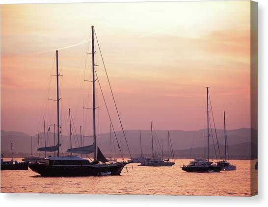 Pastel Dusk Sky And Yachts Canvas Print by Secablue