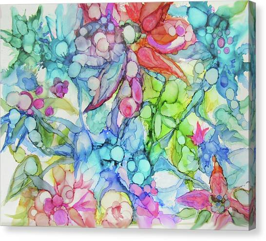 Pastel Flowers - Alcohol Ink Canvas Print