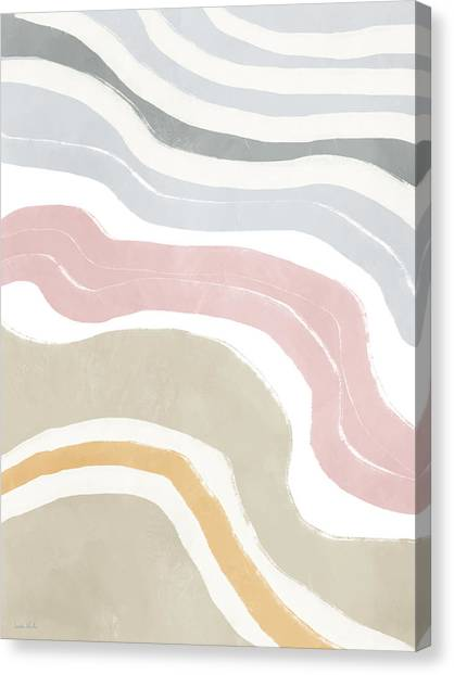 Organic Canvas Print - Pastel Waves 1- Art By Linda Woods by Linda Woods