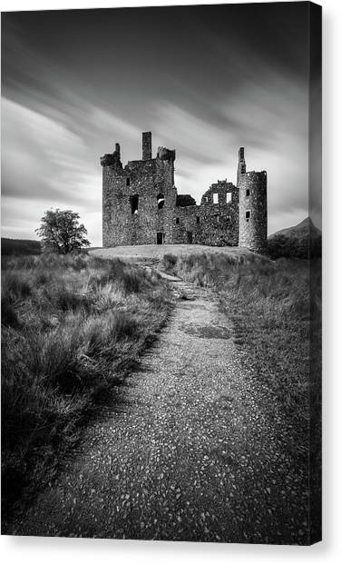 Fortification Canvas Print - Path To Kilchurn Castle by Dave Bowman
