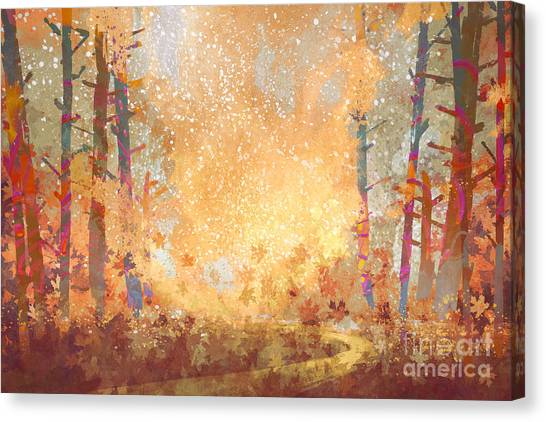 Texture Canvas Print - Pathway In Autumn Forest,landscape by Tithi Luadthong