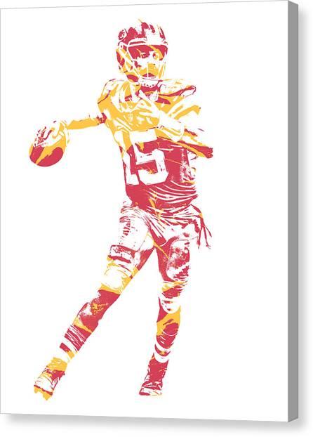 Kansas City Chiefs Canvas Print - Patrick Mahomes Kansas City Chiefs Pixel Art 11 by Joe Hamilton