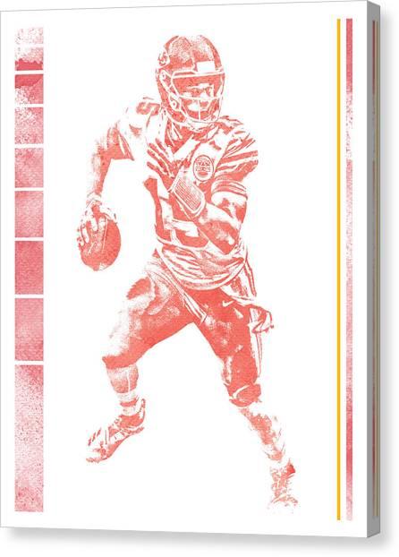 Kansas City Chiefs Canvas Print - Patrick Mahomes Kansas City Chiefs Water Color Pixel Art 20 by Joe Hamilton