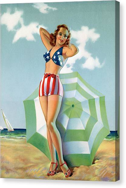 Patriotic Pinup Girl At Beach Canvas Print