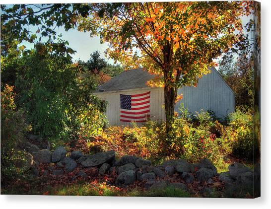 Canvas Print featuring the photograph Patriotic White Barn In Autumn by Joann Vitali
