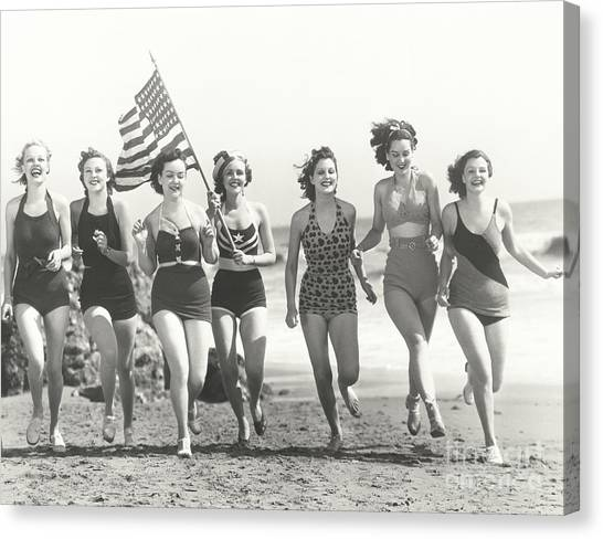 Happiness Canvas Print - Patriotic Women At The Beach by Everett Collection