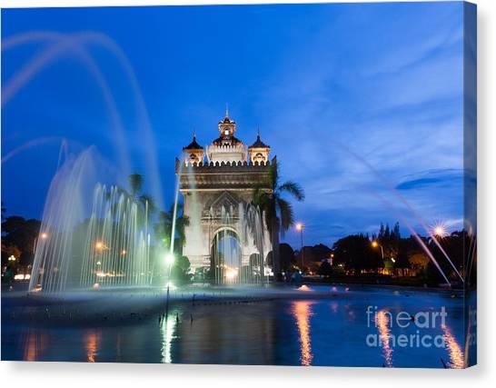 Fountain Canvas Print - Patuxai Monument Gate Of Triumph by Elena Ermakova