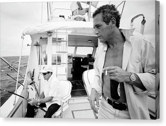 Paul Newman On A Fishing Boat Canvas Print