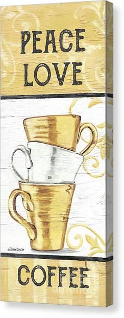 Canvas Print - Peace, Love, Coffee 2 by Debbie DeWitt