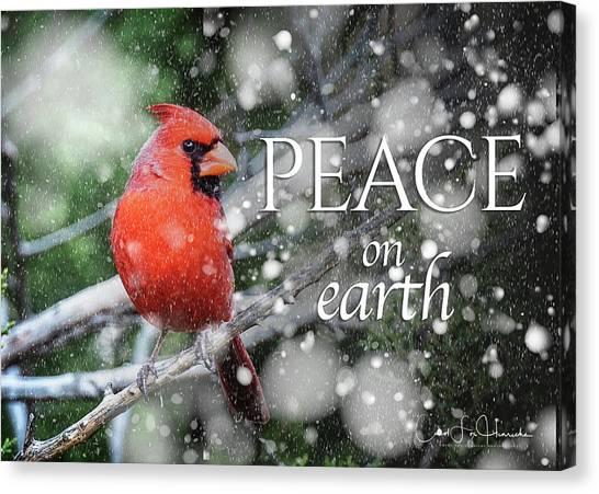 Peace On Earth W/cardinal Canvas Print