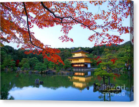 Japanese Gardens Canvas Print - Peaceful Golden Pavilion Temple In by Worldclassphoto