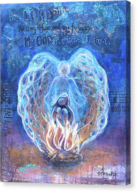 Peacock Angel    Cooler Version Canvas Print