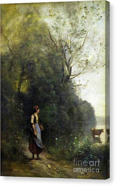 State Hermitage Canvas Print - Peasant Woman Tending Her Cow At The Edge Of A Forest by Peter Barritt
