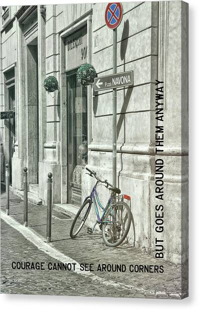 Pedal Through Rome Quote Canvas Print by JAMART Photography