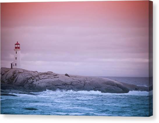 Peggys Cove Lighthouse At Dusk Canvas Print
