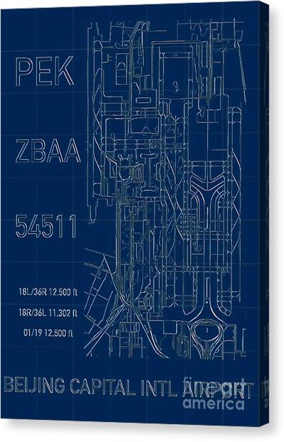 Pek Beijing Capital Airport Blueprint Canvas Print