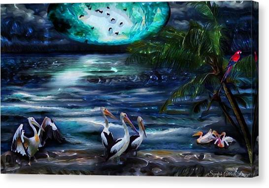 Pelicans On The Shore Canvas Print