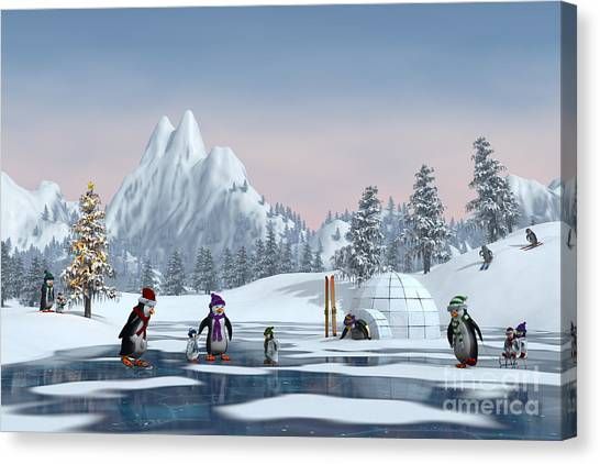 Penguins On A Frozen Lake In A Snowy Canvas Print by Sara Winter