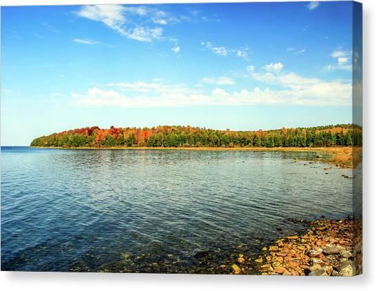Peninsula Shore In Fall Canvas Print