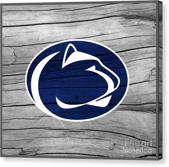 Pennsylvania State University Canvas Print - Penn State Nittany Lion On Rustic Wood by John Stephens