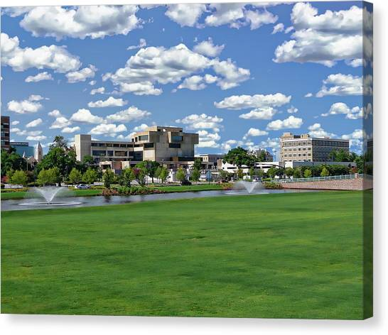Canvas Print featuring the photograph Pensacola Financial District by Anthony Dezenzio