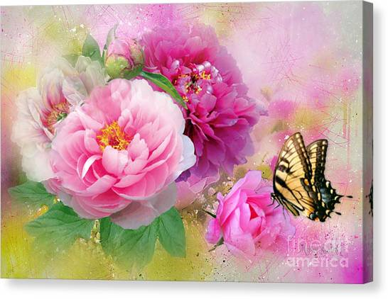 Peonies And Butterfly Canvas Print