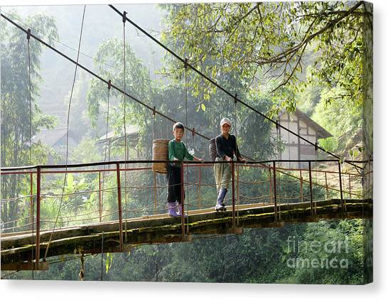 People And Children From Sapa, Mountainous Area Of Northern Vietnam In Their Daily Life. Canvas Print