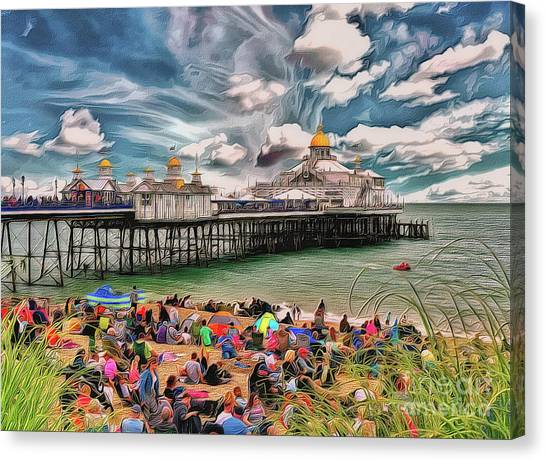 Canvas Print featuring the photograph People And The Pier by Leigh Kemp