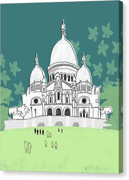 People At The Sacre-coeur Canvas Print