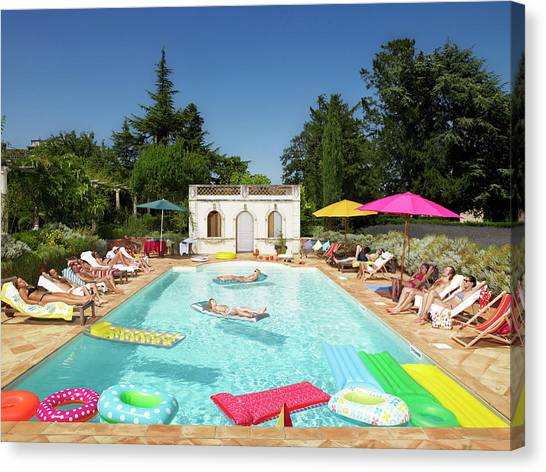 People Enjoying Summer Around The Pool Canvas Print by Ghislain & Marie David De Lossy
