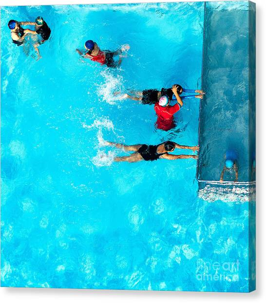 Exercising Canvas Print - People Exercising In A Swimming Pool by Mongpro