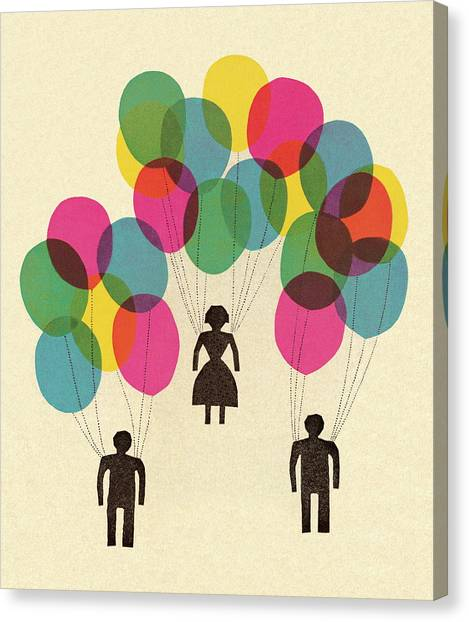 People Holding Balloons Canvas Print