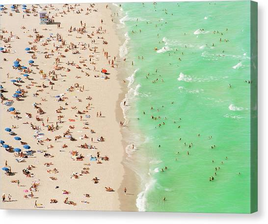 People On Beach An In Water, Aerial View Canvas Print