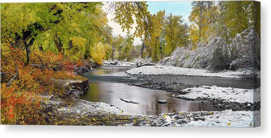 Canvas Print featuring the photograph Perfect Autumn Day by Leland D Howard