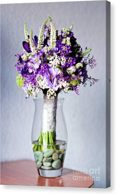 Perfect Bridal Bouquet For Colorful Wedding Day With Natural Flowers. Canvas Print