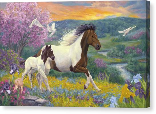 White Horse Canvas Print - Perfect Spring Day by Lucie Bilodeau