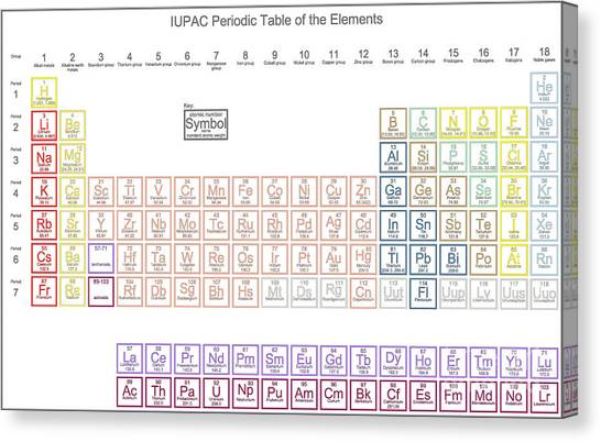 Science Education Canvas Print - Periodic Table Of The Elements With by Great Siberia Studio