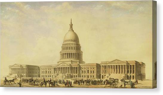 Perspective Rendering Of United States Capitol Canvas Print