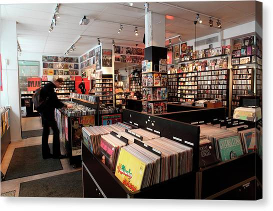 Clothing Store Canvas Print - Pet Sounds Record Shop Sodermalm by Tim E White