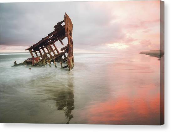 Canvas Print featuring the photograph Peter Iredale Shipwreck by Nicole Young