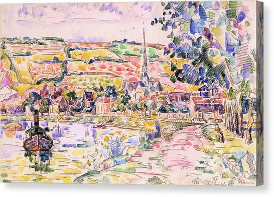 Signac Canvas Print - Petit Andely-the River Bank - Digital Remastered Edition by Paul Signac
