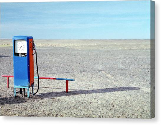 Gobi Canvas Print - Petrol Station In Desert by Romana Chapman