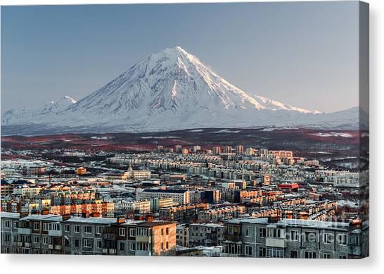 Petropavlovsk-kamchatsky Cityscape And Canvas Print by Alex Tihonovs